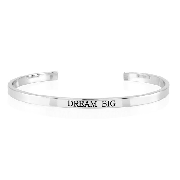 Rhodium-plated Brass 'Dream Big' Cuff Bangle
