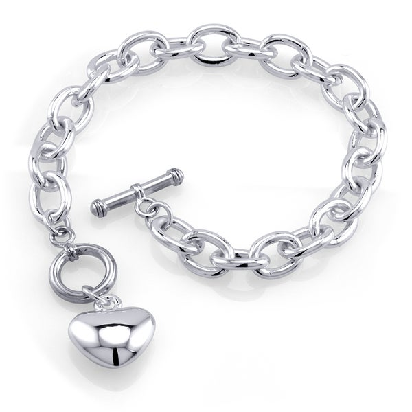 Rhodium-plated Brass Heart Charm Toggle Bracelet