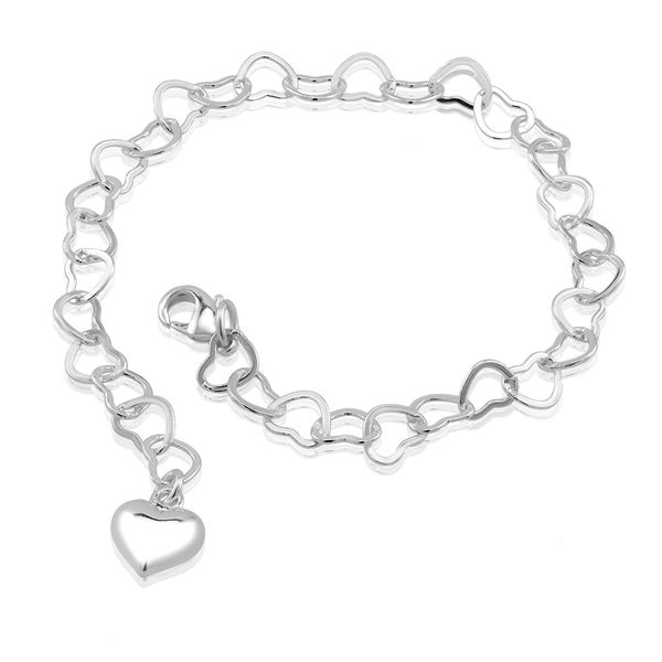 Rhodium-plated Brass Heart Cut-out Chain with Heart Charm Bracelet
