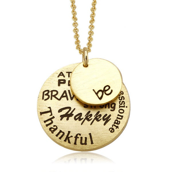 18k Yellow Goldplated 'Be' Inspirational Round Disc Necklace