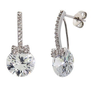 Eternally Haute Rhodium-plated Cubic Zirconia Floating Bow Drop Earrings