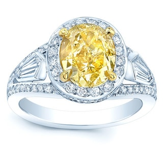 Platinum and 18k Yellow Gold 3 3/5ct TDW Fancy Yellow Diamond Gia-certified Engagement Ring ( H-I, VS1-VS2)