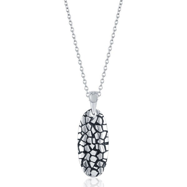 La Preciosa Sterling Silver Pebble Design Oval Pendant