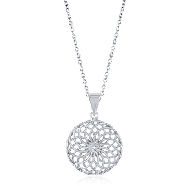 La Preciosa Sterling Silver Circle Swirl Necklace