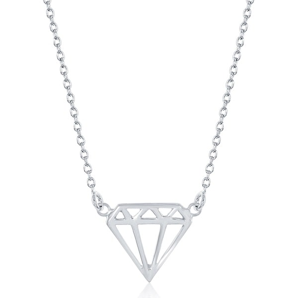 La Preciosa Sterling Silver Diamond Shape Necklace