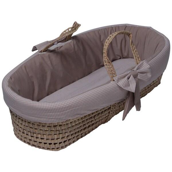 Khaki Seersucker Moses Basket