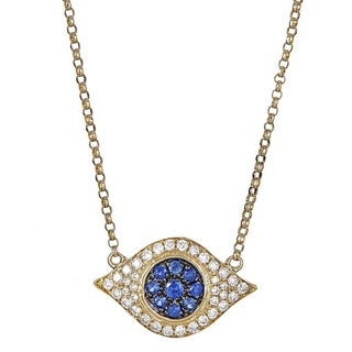 Anika and August 14k Yellow Gold Blue Sapphire and 1/5ct TDW Diamond Eye Shape Necklace (G-H, I1-I2)