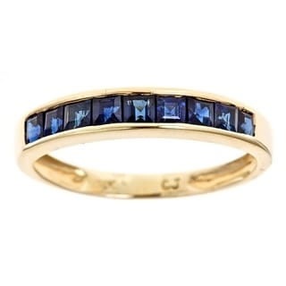 Anika And August 10k Yellow Princess Cut Blue Sapphire Band Ring (Size 7)