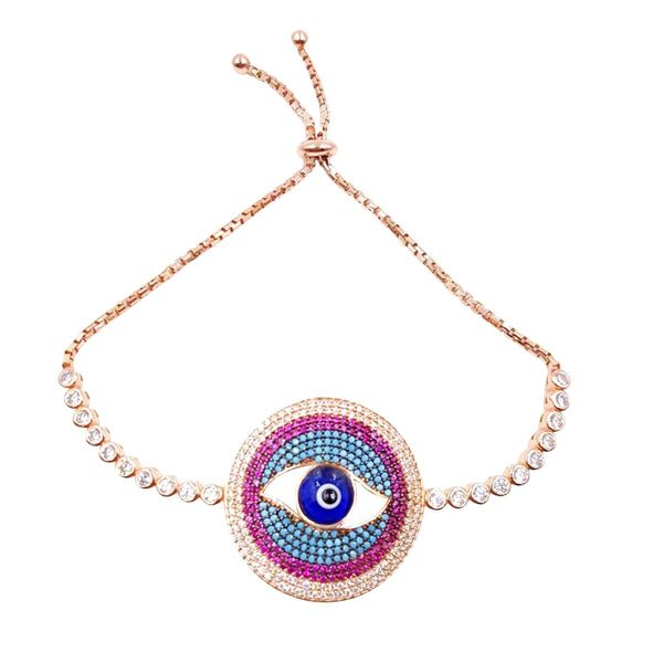 Rose Gold Over Sterling Silver Evil Eye Bracelet