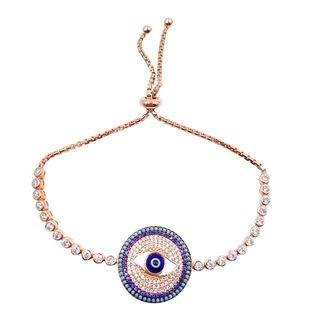 Rose Gold Over Sterling Silver Evil Eye Bracelet