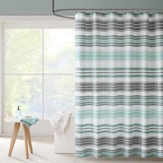 Intelligent Design Sonia Puckering Yarn-Dyed Stripe Shower Curtain