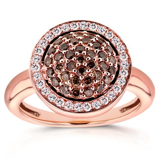 Annello 14k Rose Gold 5/8ct TDW Champagne Brown Diamonds Round Pave Tiered Halo Ring (G-H, I1-I2)