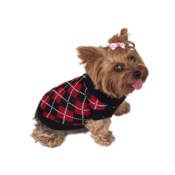 Insten Black and Red Argyle Pet Sweater