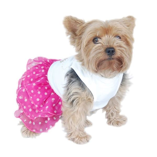 Insten Pink and White Pet Dress with Pearls and Layered Chiffon Polka Dot Skirt