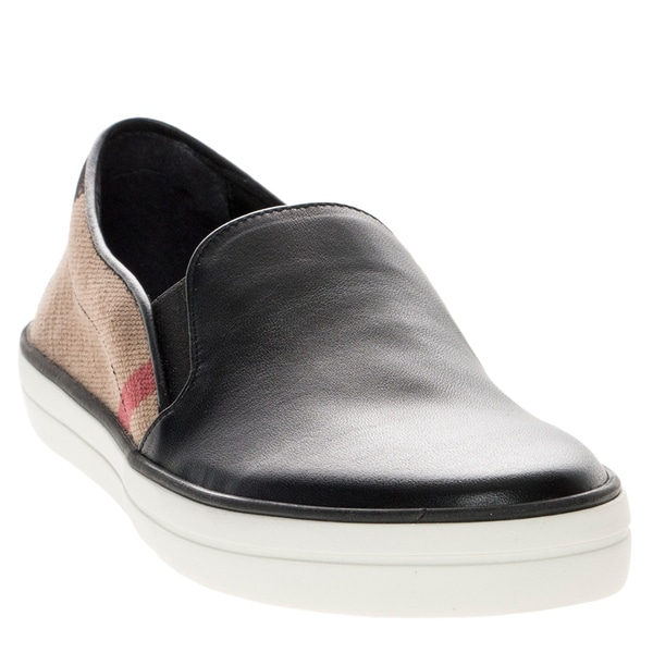Burberry Leather and Check Slip-On Trainers