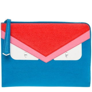 Fendi 'Monster' Flat Leather Clutch