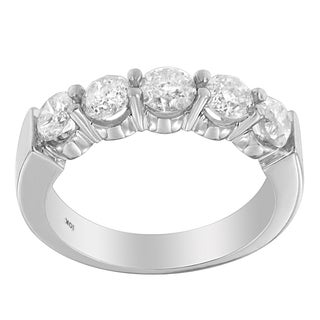 10k White Gold 1 1/2ct TDW Diamond Classic 5-stone Wedding Band (H-I, I2-I3)