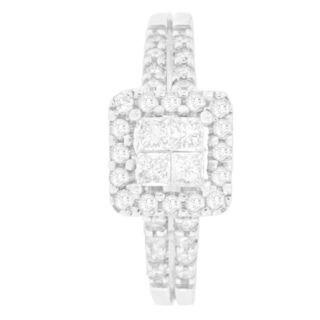 14k White Gold 1 1/2ct TDW Diamond Round and Princess Cut Engagement Ring (H-I,I2-I1)