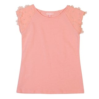 DownEast Basics Girls' Pull-Over Top With Decorative Sleeves