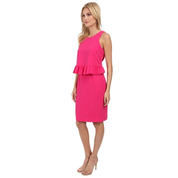 Trina Turk Kayleen Ruffle Peplum Flyaway Sleeveless Dress