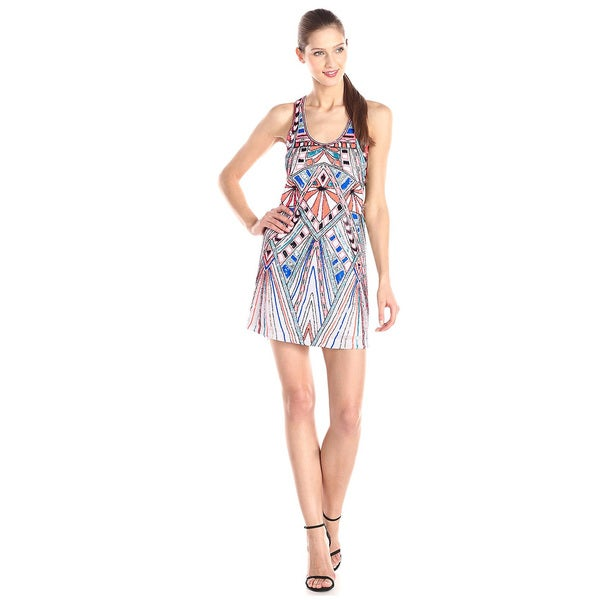 Parker Ramsey Geometric Beaded Pattern Tank Dress