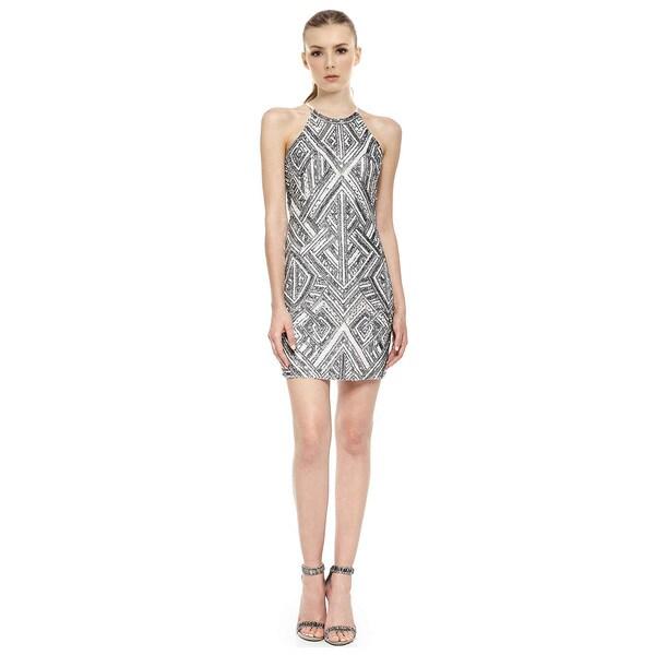Parker Jaden Sleeveless Beaded Print Evening Dress