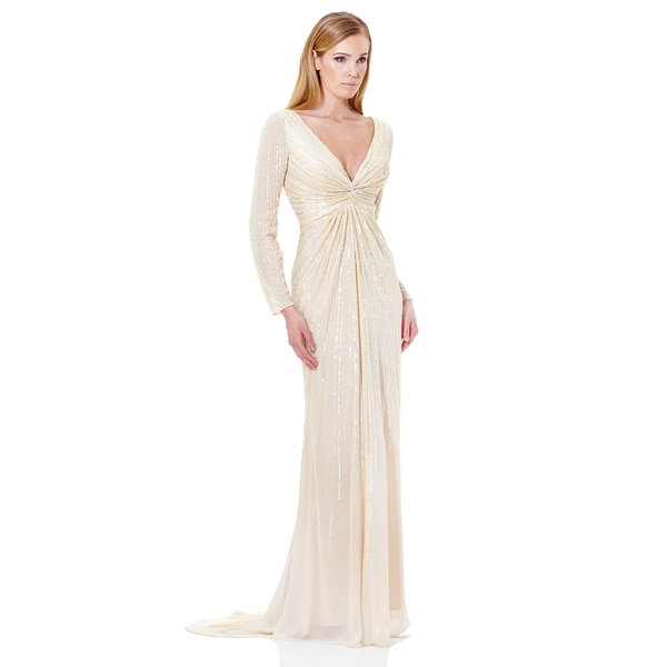 Terani Couture Chiffon V-Neck Wedding Gown