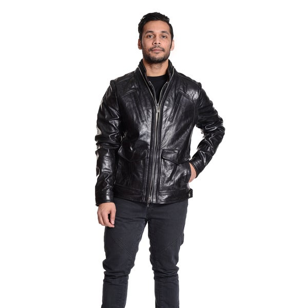Excelled Men's Double Zip Leather Jacket