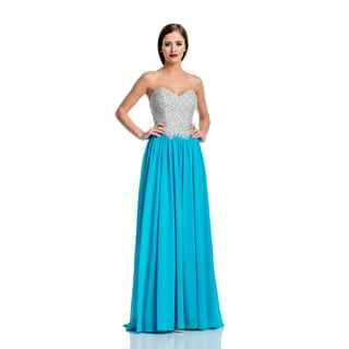 Terani Couture Beaded Bustier Prom Gown