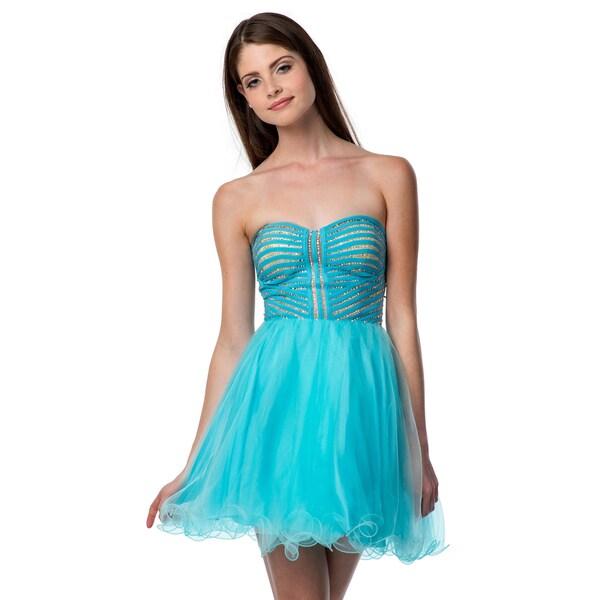 Terani Couture Women's Sweetheart Neckline Short Strapless Prom Dress