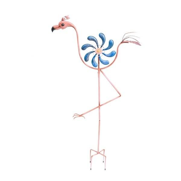 Sunjoy Flamingo Kinetic Metal Wind Catcher Garden Stake