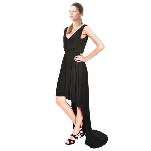 A.B.S. Black Jersey Knit High Low Hem Maxi Cocktail Dress