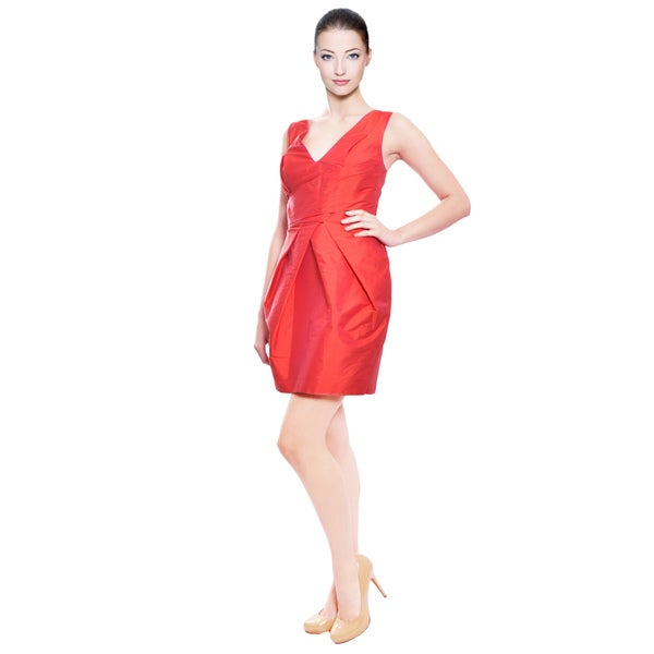 A.B.S. Lipstick Red Pleated Cocktail Party Dress