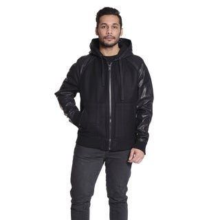 Excelled Men's Mixed Media Varsity Hooded Jacket