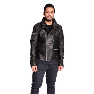 Excelled Men's Classic Leather Biker Jacket