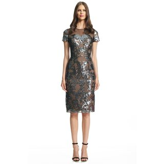 David Meister Sequined Tulle Sheath Cocktail Evening Dress