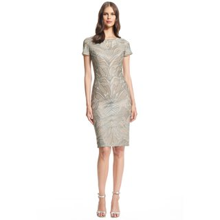 David Meister Short Sleeve Embroidered Tulle Cocktail Dress