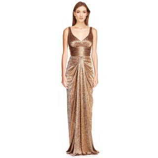David Meister Metallic Knit Draped Evening Gown