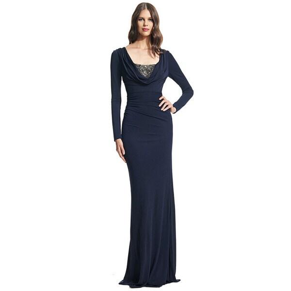 David Meister Long Sleeve Matte Jersey Beaded Evening Gown
