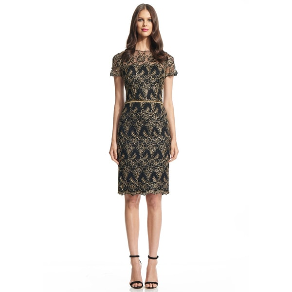 David Meister Beaded Waist Short Sleeve Cocktail Dress