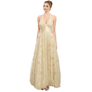 Sue Wong Beaded Tulle Open Back Halter Evening Gown