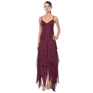 Shawn Ray Fons Ruched Chiffon Flared Hem Evening Gown