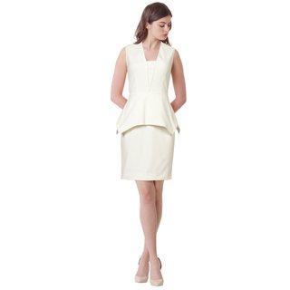 Yigal Azrouel Sleeveless Crepe Sheath Peplum Cocktail Dress