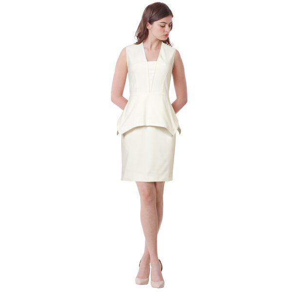 Yigal Azrouel Sleeveless Crepe Sheath Peplum Cocktail Dress