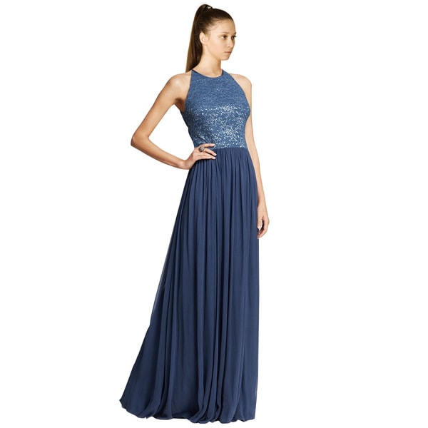 Vera Wang Metallic Lace Bodice Chiffon Skirt Evening Gown