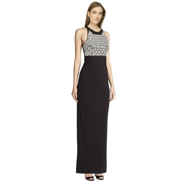 Parker Dazzling Saldana Embellished Highneck Dress