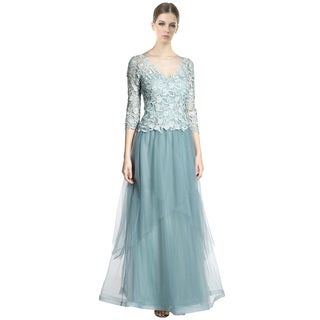 Teri Jon Scalloped Lace Layered Tulle Evening Gown