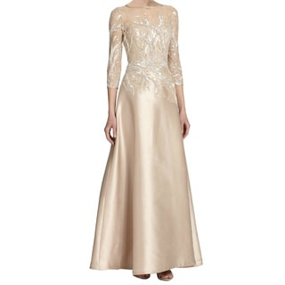 Teri Jon Elegant Bead Top Sequined Branches Satin Dress