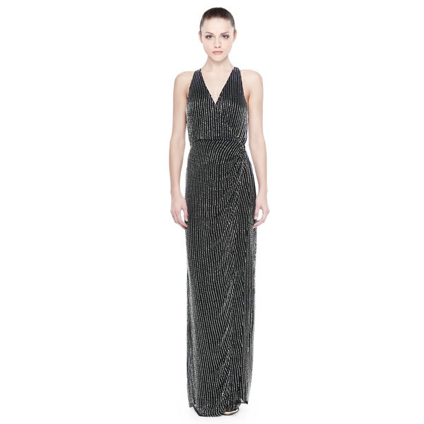 Parker Theron Sleeveless Beaded Halter Evening Gown