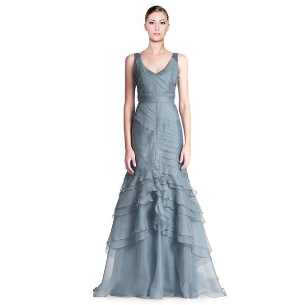 Theia Sweeping Layered Silk Organza Tiered Dress